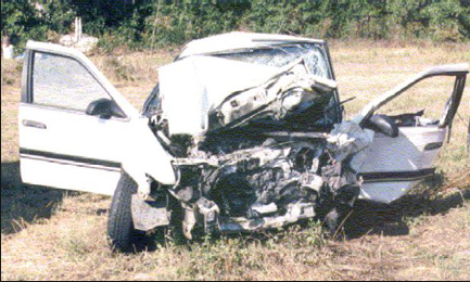 white crx accident